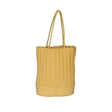 Bloomerang Thai Tide Brand Fashion Ruched Shoulder Bags Large Capacity Casual Tote Women Two Bucket High Quality Designer Handbags Sac color Yellow 33cm by 29cm by 18cm