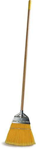 Carlisle 4564304 Wood Handle Lobby Broom with Metal Top, Polypropylene Bristles, 55'' O'all Lg. x 12'' W, Yellow (Case of 12) by Carlisle