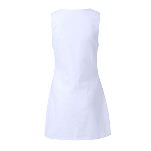 Schlussverkauf Röcke für Frauen, ESAILQ Rundhalsausschnitt Damen Kleider Shift Daily Pure Color Button Plain Cotton Dresses Weiß-a tNjyeYNn