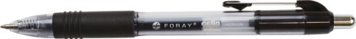 FORAY(R) Soft-Grip Retractable Gel Pens, Medium Point, 0.7 mm, Transparent Black Barrel, Black Ink, Pack Of 12