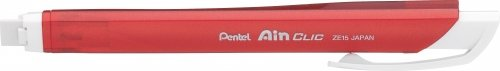 Pentel Stick Type Knock Eraser, Metal Red (XZE15-MB)