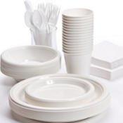 Pans Pro Tableware 48 Serving Party Set, Forks, Spoons, Knives, Plates, Bowls, Cups, Napkins, Tablecovers (White)