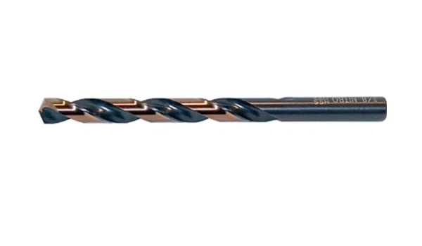 1//2 Size Drillco 350N Series High-Speed Steel Nitro Mechanics Length Drill Bit Round with Flats Shank Spiral Flute Pack of 6 Black//Gold Oxide Finish 135 Degree Split Point