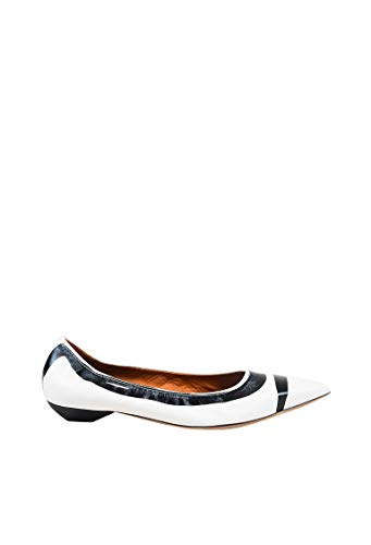 - LANVIN Women's White Black Leather Printed Pointy Toe Ballerina Flats SZ 41