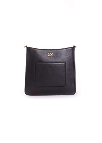 Michael Kors Gloria Leather Messenger Bag- Black