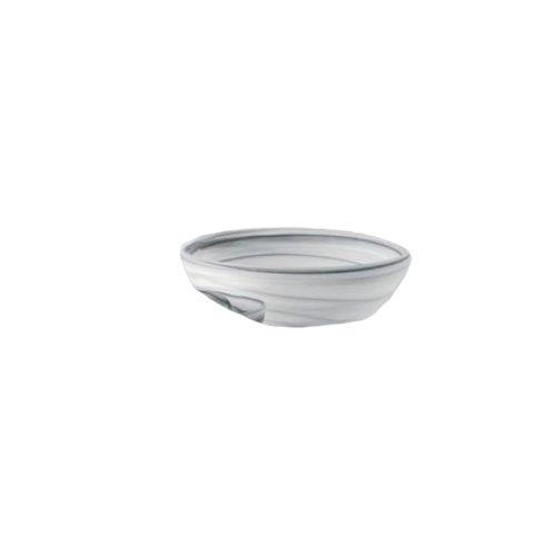 Shiraleah Medium Grey Frosted Alabaster Shallow Round Bowl (Shallow Stone Bowl)