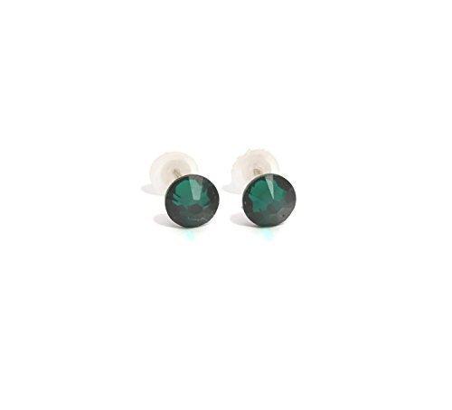 Carats Tanzanite Earrings (Petite 4.6 mm Emerald Green SWAROVSKI stud earrings for woman - 4.6mm - handmade studs - silver plated - May Birthstone)