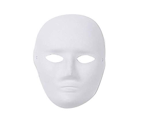 Komonee DIY Paint Your Own Design Adult White Halloween Mask (Pack of 10) (HM19) ()