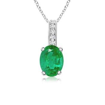 Angara Solitaire Natural Emerald Pendant in Platinum jlDL1p6