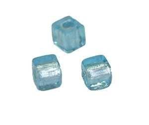 light sapphire dekorieren basteln Schmuck selber machen W/ürfel 7x7mm ca50St Schmuck selber machen Creative-Beads Glasperle Silverfoil