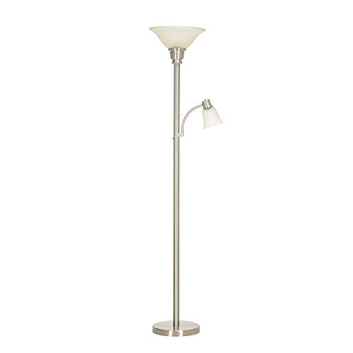 Catalina Lighting 21425-000 Transitional Metal Floor Lamp with Reading Light, Frosted Glass Shades, 71.0
