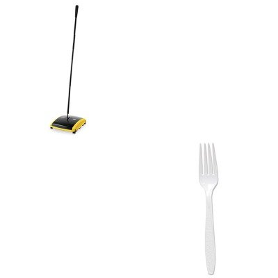 KITRCP421388BLASLOGD5FW - Value Kit - Solo Extra-Heavy Polystyrene Forks (SLOGD5FW) and Dual Action Sweeper, Boar/Nylon Bristles, 42quot; Steel/Plastic Handle, Black/Yellow (RCP421388BLA) (Polystyrene Extra Forks Heavy)