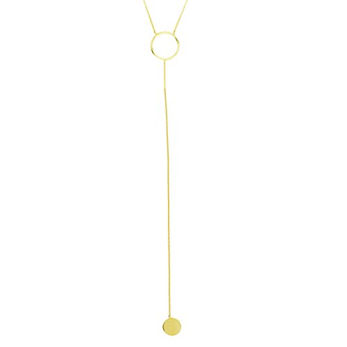 Hawley Street Y-style Lariat Necklace with Circle and Disk Drop 14k Yellow Gold by AzureBella Jewelry