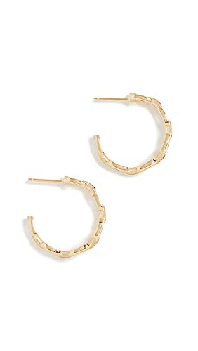 - Jennifer Zeuner Jewelry Women's Carmine Small Hoop Earrings, Yellow Vermeil/White Enamel, One Size