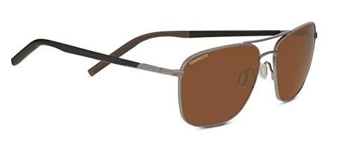 (Serengeti Spello Sunglasses, Shiny Gun Metal/Chocoloate Brown Frame/Polarized Drivers Lens)