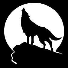 Chase Grace Studio Wolf Howling Full Moon Coyote Hunting Predator Vinyl Decal Sticker WHITE Cars Trucks SUV Laptops Wall Art 5.5