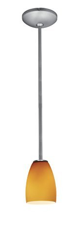 (Access Lighting 28069-1R-BS/AMB Sherry Glass Pendant One Light Pendant with Rods with Amber Glass Shade, Brushed Steel Finish by Access Lighting)