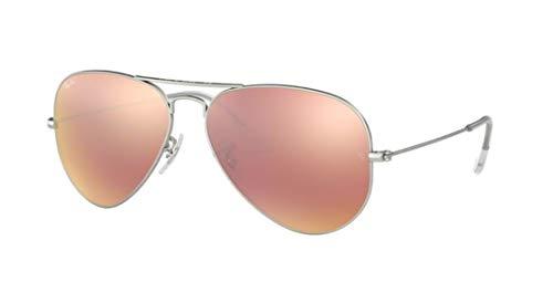 Ray-Ban RB3025 Aviator Large Metal Unisex Aviator Mirror Sunglasses (Matte Silver Frame/Brown Mirror Pink Lens 019/Z2, 58)
