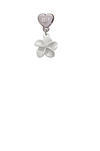 White Plumeria Flower Custom Year Stainless Steel Heart Bead Charm