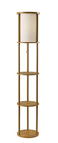 Adesso 3117-12 Stewart Round Shelf Floor Lamp, Natural Wood Finish