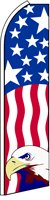 - Alotta Signs Patriotic with Eagle and Vertical Wavy Stripes X-Large Swooper Flag