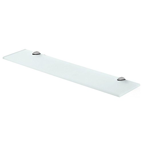 "Fab Glass and Mirror 6"" L X 18"" W Rectangle Floating Shelf Kit with Chrome Brackets, Frosted Glass Shelves 6"" X 18"" Clear"