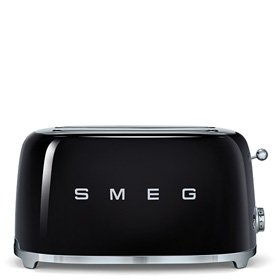 Smeg TSF02BLUS 4 Slice Toaster with 6 Browning Levels, Stainless Steel Ball Lever Knob, Backlit Chrome Knob, Self-Centering Racks and Automatic Slice Pop Up in Black