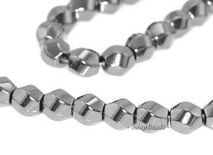 6MM Noir Black Hematite Gemstone Twisted Round Hexagon Drum 6MM Loose Beads 7.5