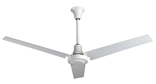VES Industrial Grade Garage Ceiling Fan forward reverse with 18-inch Downrod for Indoor or Outdoor 60 Inch Moisture Resistant, White