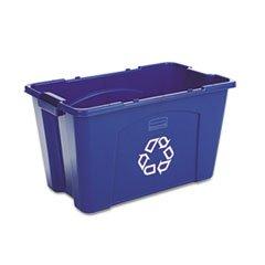 ** Stacking Recycle Bin, Rectangular, Polyethylene, 18 gal, Blue