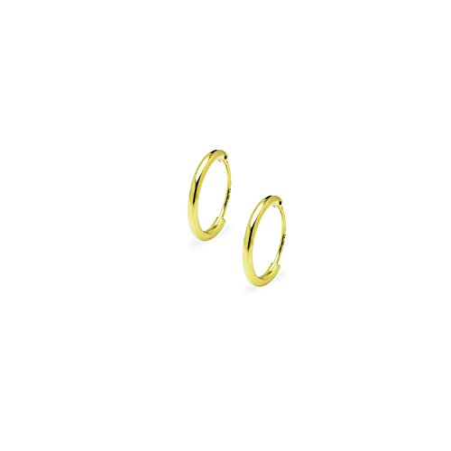 Gold Flashed Sterling Silver Endless Hoop Earrings for Cartilage Nose Lips 3/8 Inch - Nz Shop London