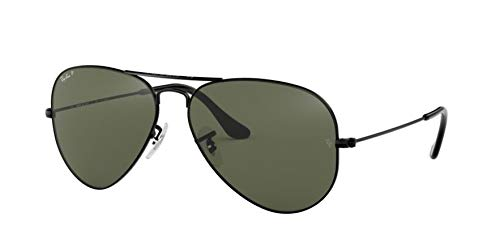 Ray-Ban AVIATOR LARGE METAL - BLACK Frame CRYSTAL GREEN POLA