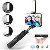 Selfie Stick, Jopree 2 in 1 Bluetooth Mini Selfie Stick with LED Light [3 Brightness Levels], Built-in Bluetooth Remote Phone Selfie Stickã€Lovely Lipstick Appearance】 for iPhone and Android Phones