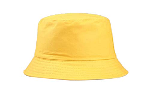 Foldable Fashion Fisherman Bucket Hat,Crytech Bright Color Casual Wild Uv Protechtion Reversible Fishing Sun Hat Outdoor Travel Packable Wide Brim Summer Beach Visor Cap for Women Men (Yellow)