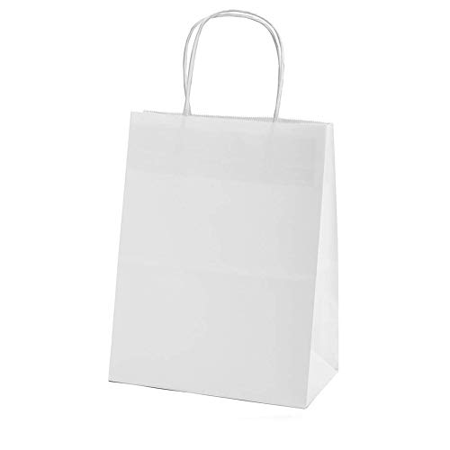 XYBAGS Gift Tote Bags, Small White Kraft Paper Candy Bags, Trick or Treat Bags with Handle for Birthday Wedding Halloween Christmas Party, 8 1/3 Inche, 10 Pack Kids Gifts Bags]()