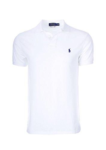 Polo Ralph Lauren Men Classic Fit Mesh Polo Shirt (Large, White 7105) - Mesh Short Sleeve Polo Shirt