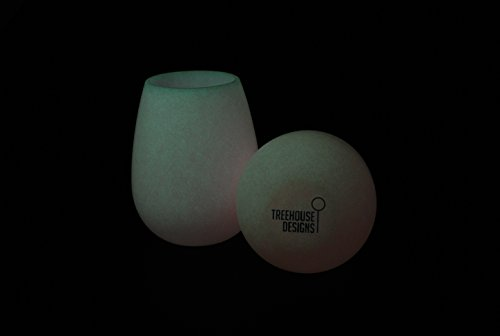 Silicone Wine Glasses - 12 oz cups THAT GLOW - Stemless Drinkware made from non-toxic, BPA Free, Premium Silicone, Unbreakable, Stain-Resistant, and Versatile Drinkware (2, (12 Ounce Glow Cup)