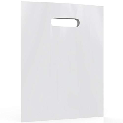 """White Merchandise Plastic Shopping Bags - 100 Pack 12"""" x 15""""with 1.5 mil Thick 