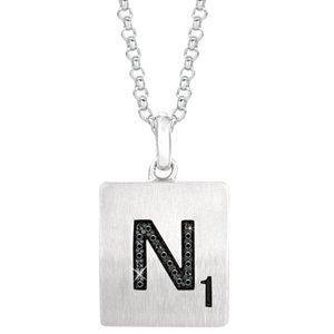 """Collier en Argent Sterling Lettre """"N 45,7cm diamants totalisant .06carat Noir"""