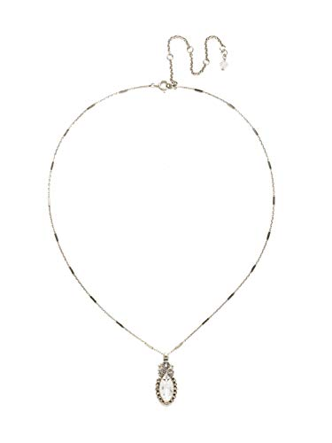 Sorrelli Antique Silver Tone Crystal Women's Nostalgic Navette Pendant Necklace, Clear, 16