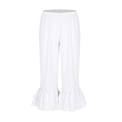 Agoky Women's Victorian Era Costume Elastic Waist Ruffles Hem Pantaloons Bloomers White X-Large