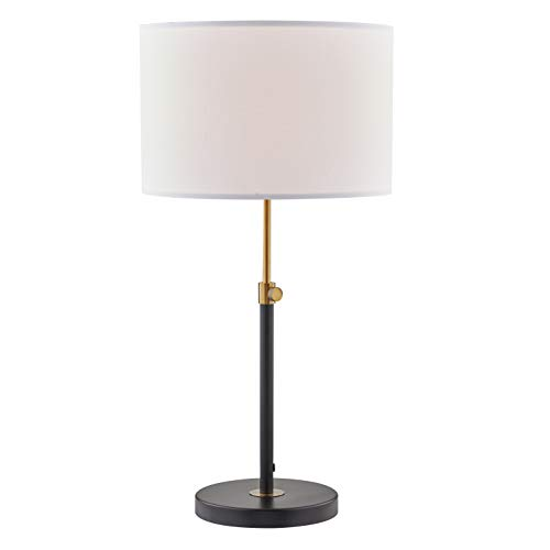 Light Society LS-T304-BK Cardiff Telescoping Table Matte Black with Brass Finish and White Lamp Shade, Classic Modern Contemporary Style Lighting