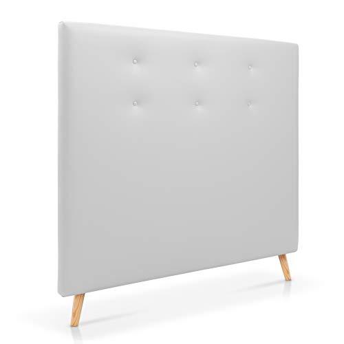 SERMAHOME Cabecero para Cama de 135 cm Cabeceros Tapizados Color Blanco Cabecero de Patas de Madera Extra Alto