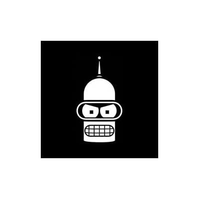 Bender Face Futurama Vinyl Decal Sticker|Cars Trucks Vans Walls Laptops Cups|White|5.5 In|KCD837: Automotive