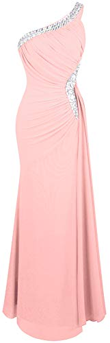Angel-fashions Women's One Shoulder Ruching Beading Ribbon Soft Evening Gown (S, Light Pink)