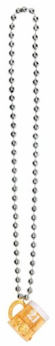 """Fun-Filled Adult Birthday Party Beer Mug Pendant Chain Necklace, Silver , 18"""" Plastic"""