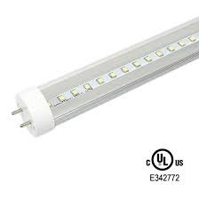 T8 LED Light Tube, 4ft, 18W (36W equivalent), 5000K (Daylight),4 PACK Single-Ended Power, CLEAR, UL-Listed & DLC-Qualified