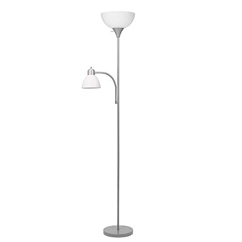 - Catalina Lighting 21417-000 Traditional Metal Torchiere Floor Lamp with Reading Light and White Shades, Silver