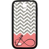 Gray Chevron Splicing Pink Background Anchor Infinite Black Stylish Cover Case & Dust Plug For Samsung I9500 GALAXY S4 with high-quality Silicon Rubber