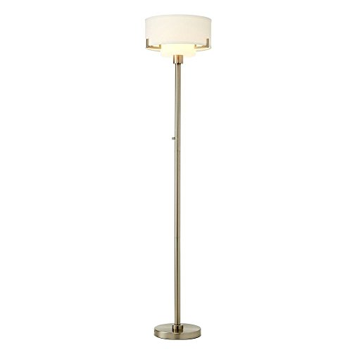 - Modern Torchiere Lamp with White Glass in Satin Nickel Finish
